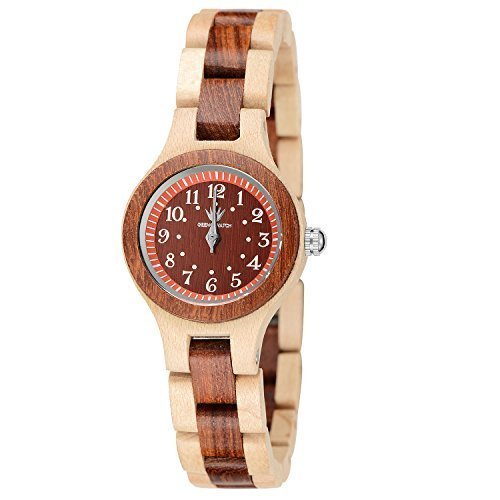 MEKU Womens Wooden Wrist Watch Handmade Two Tone Natural Wood