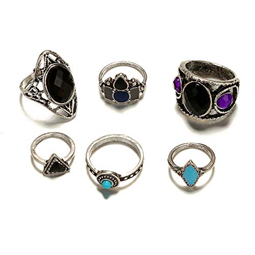 Roumin Fashion Women's Punk Silver Boho Style Set Glamour Beautiful Ring Jewelry(Silver,Free Size)