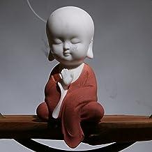 White Ceramic Little Cute Buddha Statue Monk Figurine (Red)