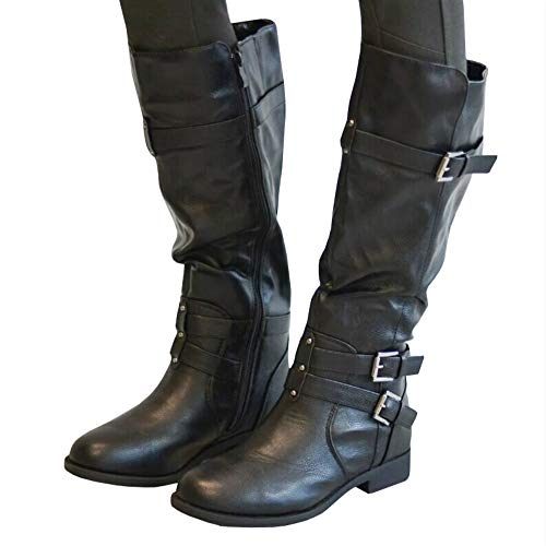 black Riding Wide Buckle Boots Strappy Chunky Calf Boots 2 High Winter Knee Ermonn Womens Combat qg46awwxt