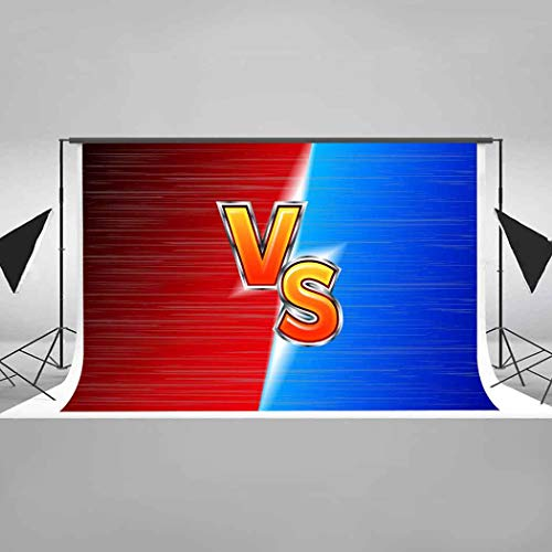 EARVO 7x5ft Competition Themed Party Backdrop Red VS Blue Photography Background Cotton Backdrop (Wrinkle Resistance) Photo Booth Props hxea235 ()