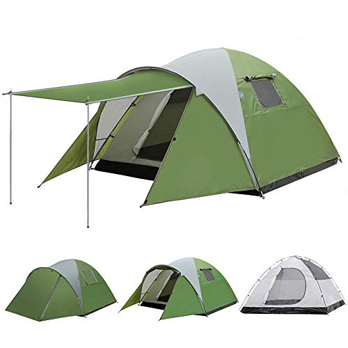 - AYAMAYA Camping Tents 3-4 Person/People/Man [Sleeping Room + Front Porch], Durable Double Wall/Layer Waterproof Rip-Stop Polyester [2 Doors] Ventilation 4 Season Mountain Tents Shelter for Outdoor