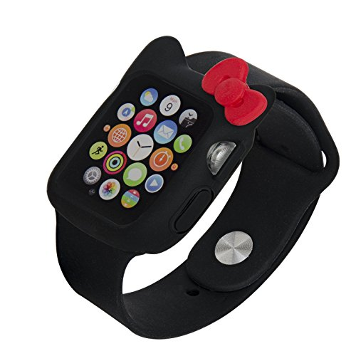 Navor Soft Silicone Protective Cute Kitty Case Cover Case Compatible with Apple Watch 38mm Series 1/2/3-Black-Red