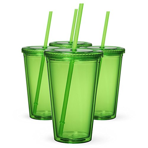 Maars Classic Insulated Tumblers 16 oz. | Double Wall Acrylic | Green - 4 pack (4 Pack 16 Oz Tumblers)