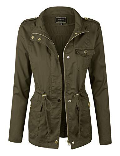 makeitmint Women's Lightweight Anorak Military Jacket w/Drawstring [S-3XL] YJZ0005-62OLIVE-LRG