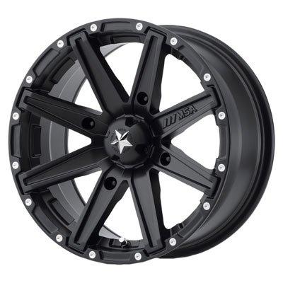 4/110 Motosport Alloys M33 Clutch Wheel 12x7 4.0 + 3.0 Satin Black for Honda RANCHER 420 4x4 AT DCT IRS 2015-2018