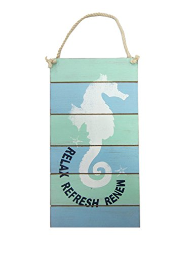 Young's Wood Relax Refresh Renew Seahorse Wall Plaque, 12