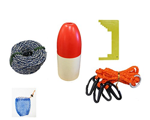KUFA Sports Crabbing Accessory Kit (100' Non-Lead Sinking Line, Clipper, Harness, Bait Bag & 11