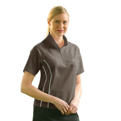 Monterey Club Ladies Dry Swing Mini Matrix Texture Half Zip Double Piping Shirt #2137 (Mocha/Sea Foam, Medium)