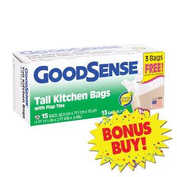 6 Pack of BONUS! GoodSense Lemon-Scented Tall Kitchen Trash