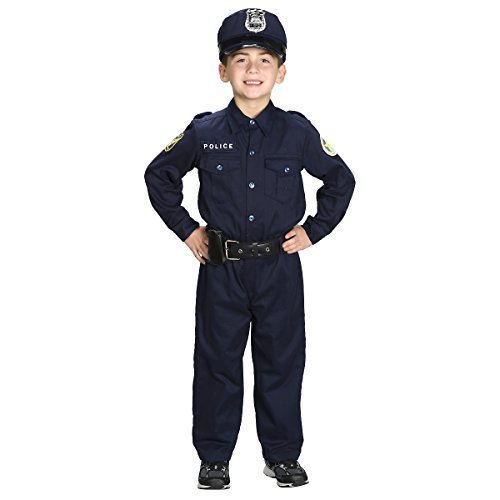 Aeromax Jr. Police Officer Suit, Size 4/6 with police cap,badge, and belt to look and feel like the real deal. (Winning Halloween Costumes For Kids)