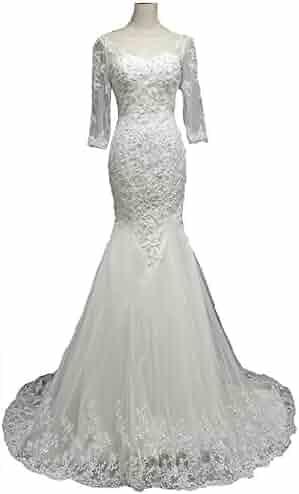 8d4f95ee121 Snowskite Womens Elegant High Neck Lace Long Sleeves Mermaid Wedding Bridal  Dress