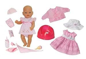 Zapf Creation 812082 Baby Born - Muñeca comiditas mágicas con vestido, jersey y sombrero (43 cm)