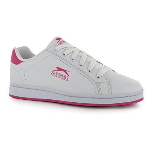 Slazenger Kinder Jungen Ash Turnschuhe Freizeit Sport Schuhe Schnuerschuhe Weiß/Kirschrot