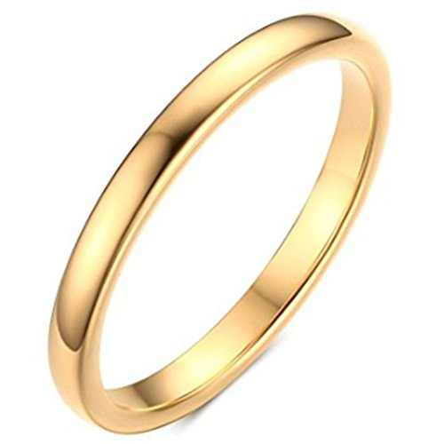 Womens 2mm Tungsten Carbide Ring Simple Style Cute Thin Wedding Engagement Promise Band Gold Size 9 by Fashion Month