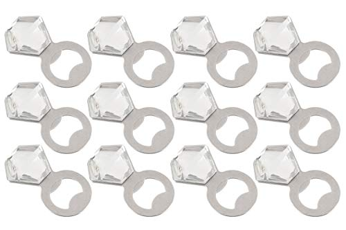 Bottle Lounge (Diamond Bottle Opener - 12-Pack Stainless Steel Novelty Ring Shaped Bottle Opener, For Kitchen, Bridal Shower Gifts, Wedding Party Favors, Bars and Restaurants, Silver, 2.6 x 1.4 Inches)