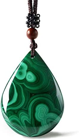 TYGJB Collar de malaquita Colgante de Agua Gota Colgante de Jade Joyería Fina de Jade