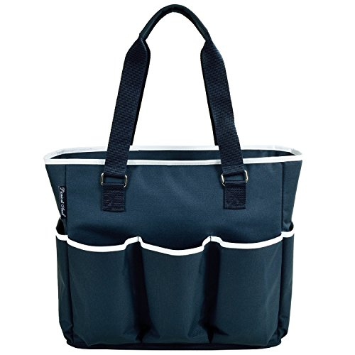 Willow Cooler Wine Basket - Picnic at Ascot Large Insulated Multi Pocketed Travel Bag With 6 Exterior Pockets, Navy