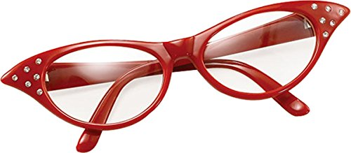 Bristol Novelties Ladies 50S Style Rock N Roll Dame Edna Specs Fancy Party Red (Dame Edna Costumes)