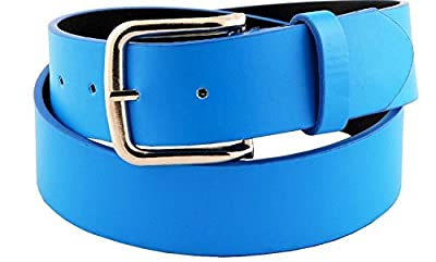 """Womens 1 1/2"""" Wide Classic Smooth Faux Leather Belt With Shiny Nickel Buckle"""