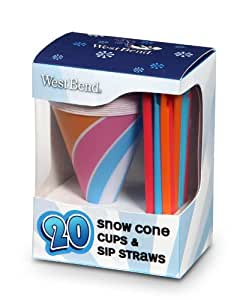 West Bend Snow Cone Cups and Straws