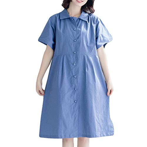 ♞Deadness-Womens Women V Neck Button Down Pocket Casual Midi Dress Cute Solid Color Summer Short Shirt Dress Blue -