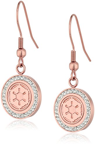 Star Wars Jewelry Imperial Symbol Rose Gold-Plated with Cubic Zirconia Dangle Earrings SALES1SWMD