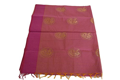 mple wear Saree Set with zari Golden Thread Peacock Design in Pink Color. ()
