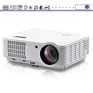 "HD Video Projector, iRULU 10 1280800 1080p HDMI Max 200"" Big Screen LCD LED Projector For Home Back Yard Movie, Party, Games - White"