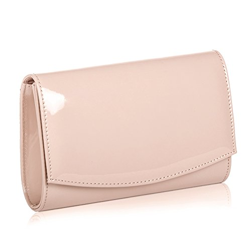 Women Leather Fashion Clutch Purses,WALLYN'S Evening Bag Handbag Solid Color (Natural) by WALLYN'S