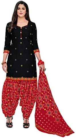 Miraan Women's Cotton Unstitched Dress Material (SGPRI322; Black; Free Size)