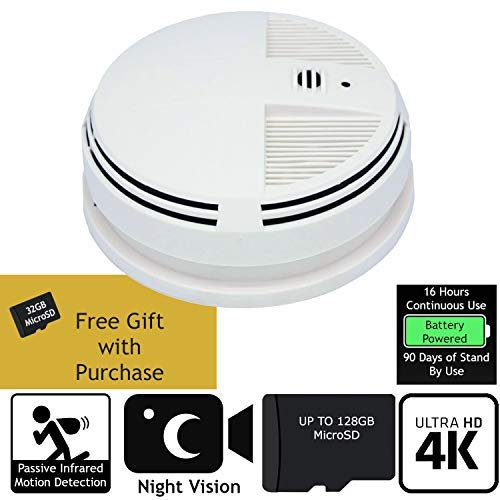 SPY GADGETS | 4K Hidden Camera Spy Camera Home Surveillance Nanny Cam DVR Bottom View Smoke Detector | XTREME Life HD 2160P Hidden Video Camera Battery Operated with Night Vision and Motion Activation (Smoke Bottom Detector)
