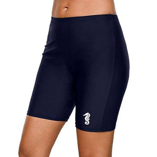 (Vegatos Women Long Board Shorts Quick Dry Swimsuit Bottoms Swim Jammer Navy 2XL )
