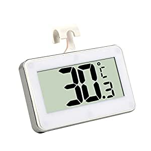 STree Digital Refrigerator Thermometer Freezer Room Outdoor Thermometer with Hook and Magnet, White