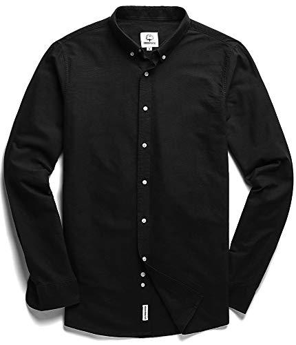 Men's Oxford Long Sleeve Button Down Casual Dress Shirt Black Large (Oxfords Casual Men)