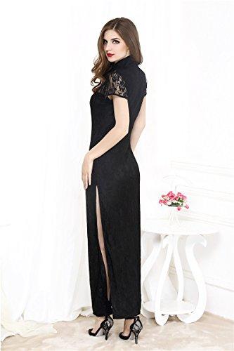 ZHFC-Señoras lingerie Club Europa larga de encaje cheongsam vestido negro apretado con siames Nightclub F