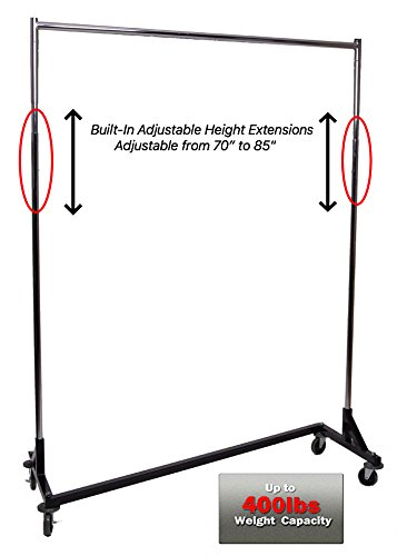 Only Hangers Adjustable Height Heavy Duty Z Rack w/ Black Base