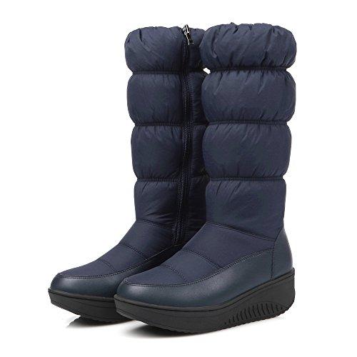 Platform Snow Knee Boots Zip Snow Wedges Ladies Blue Women High Blue Surface Round JIEEME PU Toe Down Boots Sweet Black RfZxT