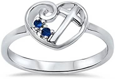 Heart Cross w/ Simulated Blue Sapphire .925 Sterling Silver Ring Size 4-11