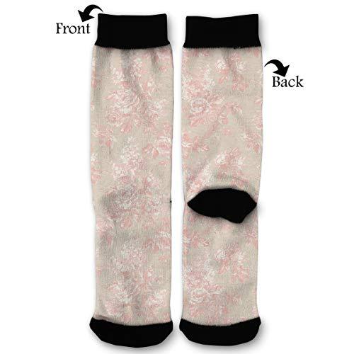 Pink Flower Pattern Zoom Socks Funny Fashion Novelty Advanced Moisture Wicking Sock for Man Women ()