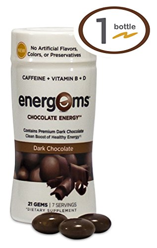 Energems Dark Chocolate Energy Boost with Caffeine, Vitamin B, Vitamin D, Antioxidants, plus L-Theanine- 21 Dietary Supplement Gems (1 Bottle- Dark Chocolate)