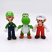Super Mario Yoshi Luigi PVC Action Figures Beautiful Collection Model Toys 3 PCS Set (A-Red Mario)