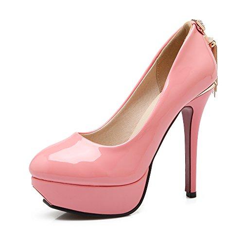 JIEEME Ladies Fashion Stiletto Black Pink Platform women pumps Sexy Round toe Party Women court shoes Pink