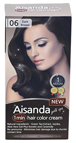 Aisanda & Assanta 1 Minute Hair Color Cream, Fast Natural Hair Dye For Women & Men With Herbal Ingredients, Ammonia Free (1Pack60g, Dark Brown)