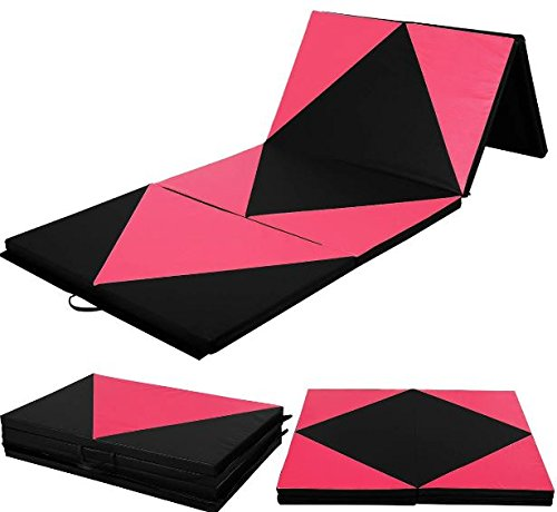 "K&A Company Folding Panel Gymnastics Rhombic Splicing Thick Gym Yoga Exercise Mat 4' x 10' x 2"" Pink"