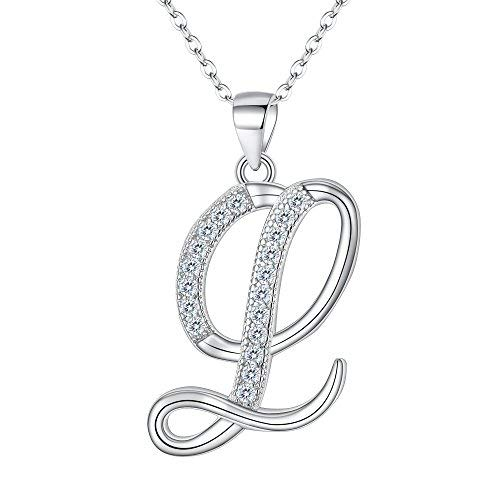 EVER FAITH 925 Sterling Silver CZ Cursive Initial Alphabet Letter L Adjustable Pendant Necklace Clear - Tiffany Style Pave