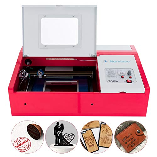 SUNCOO K40 Laser Cutter Desktop DIY 40W CO2 Laser Engraving Machine Glass Wood Leather Acrylic Cutting Machine 12x8 Inches with USB Port for Windows System Red