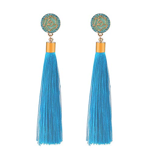 IUTING Bohemian Vintage Tassel Drop Earrings for Women and Girls Wedding Party Fashion Rhinestone Cotton Rope Long Earrings Jewelry