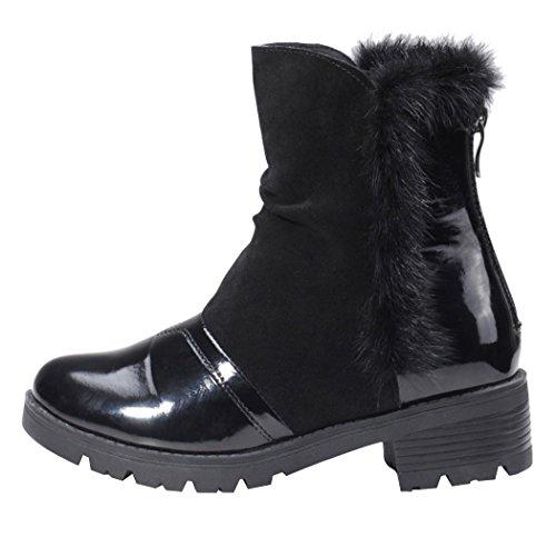 MILANAO Women New Season Warm Leather Low-Heeled Cylinder British Wind Martin Boots (7 B(M)US,black)