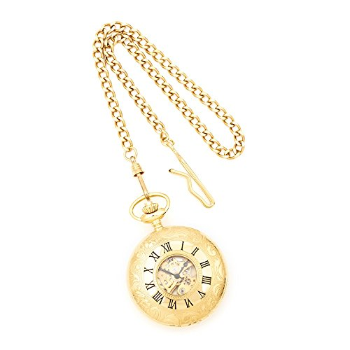 Charles Hubert Gold Finish White Dial Pocket Watch by US Gems